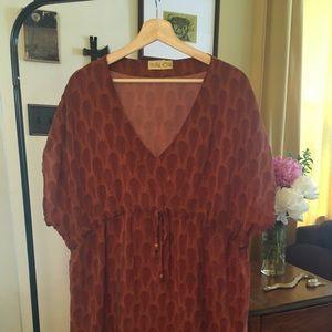 Indie Ella 100% Silk Rust Tunic Coverup XL 1X 2X